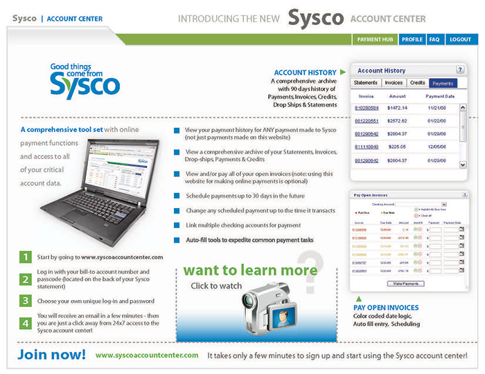 Email Sysco Account Center