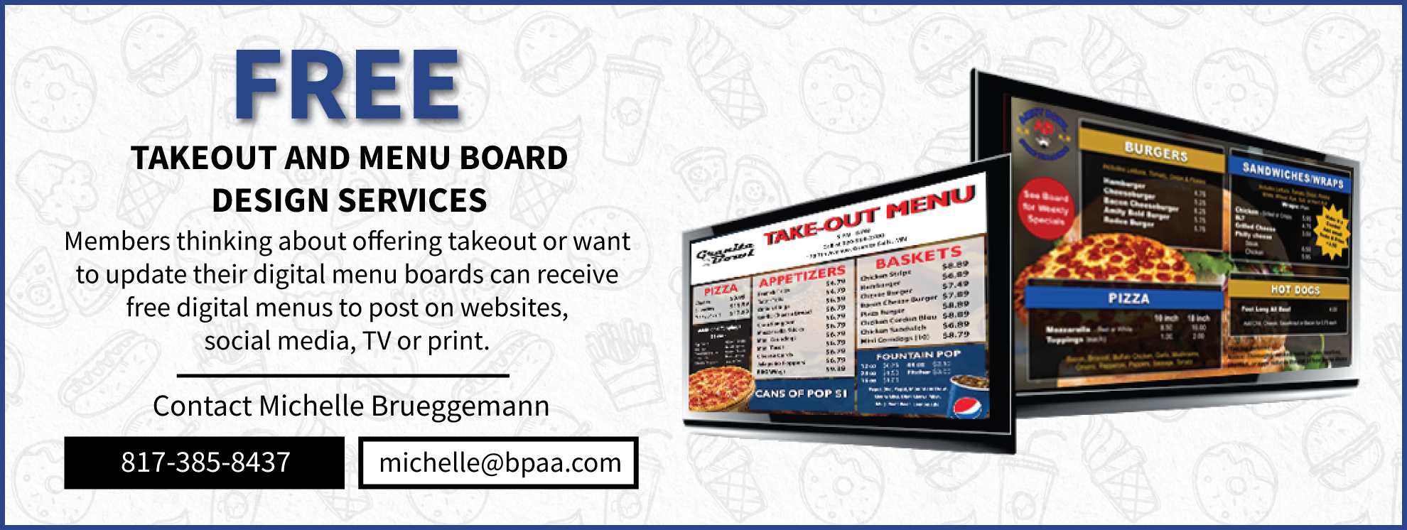 Menu board and takeout